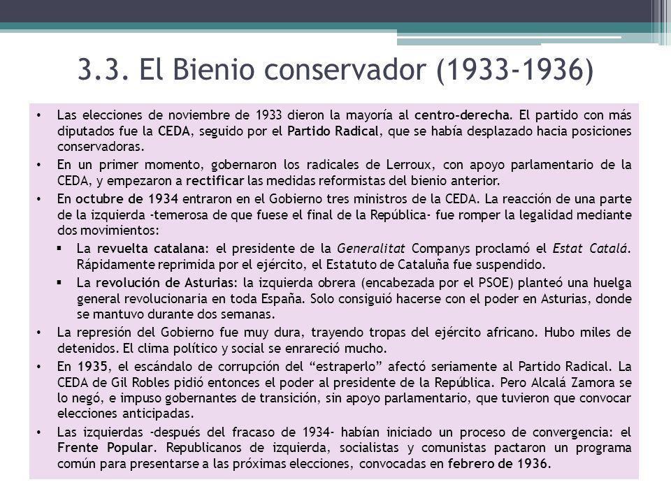 3.3. El Bienio conservador (1933-1936)