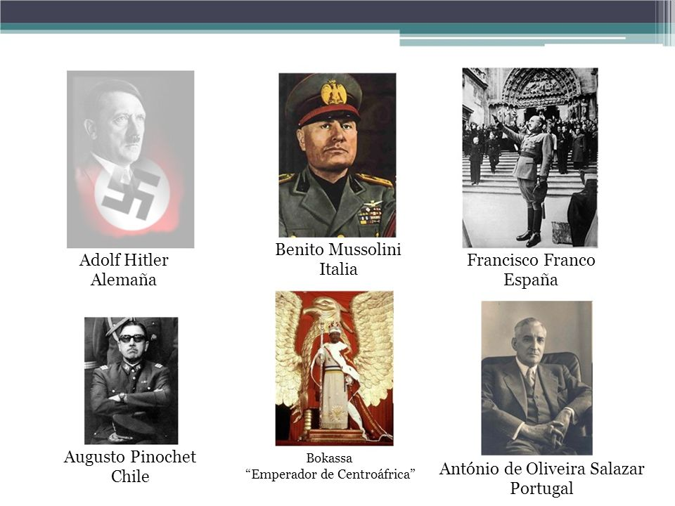 Benito Mussolini Italia Adolf Hitler Alemaña Francisco Franco España