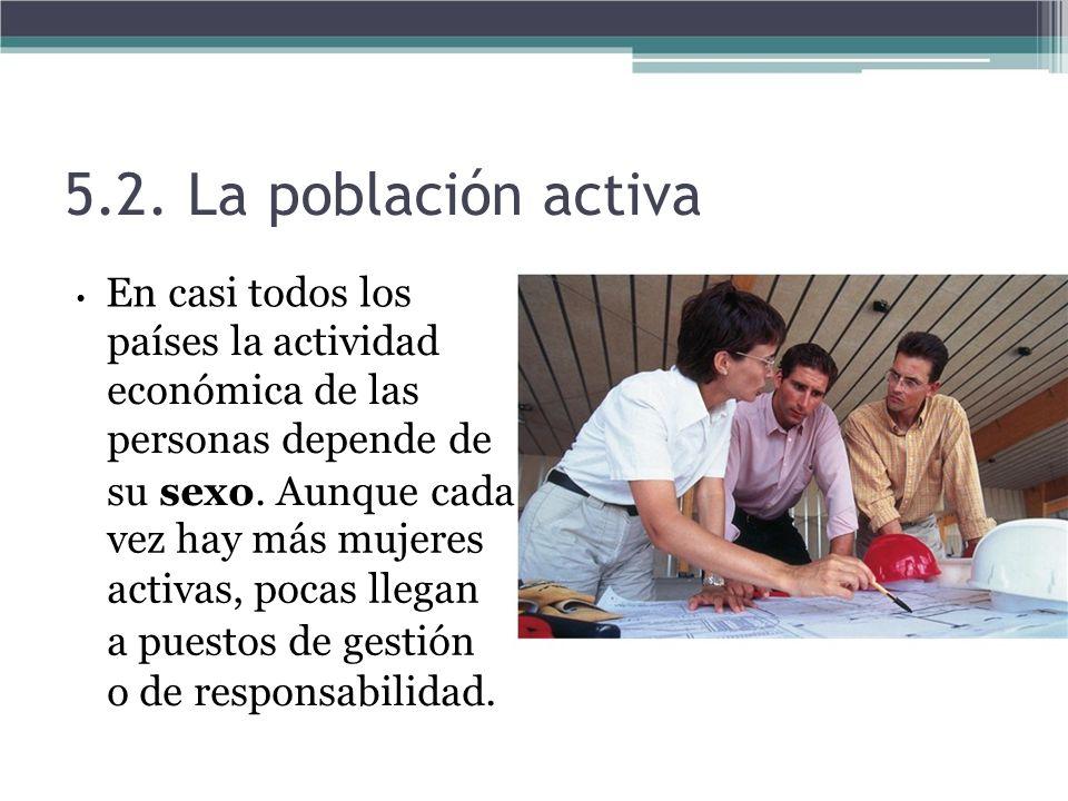 5.2. La población activa • En casi todos los. países la actividad económica de las personas depende de.