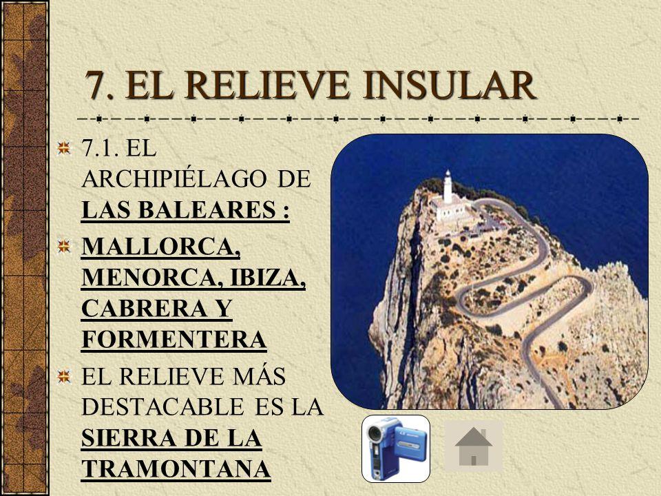 7. EL RELIEVE INSULAR 7.1. EL ARCHIPIÉLAGO DE LAS BALEARES :