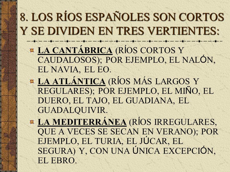8. LOS RÍOS ESPAÑOLES SON CORTOS Y SE DIVIDEN EN TRES VERTIENTES: