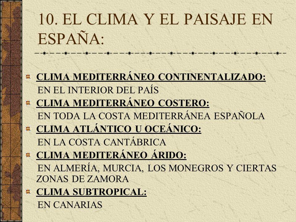 10. EL CLIMA Y EL PAISAJE EN ESPAÑA: