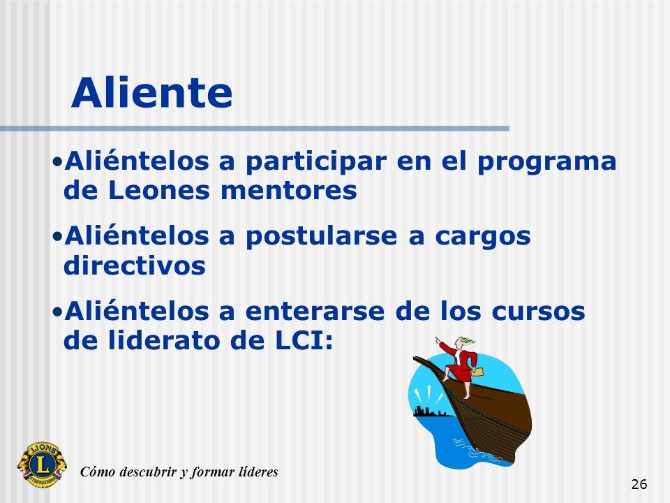 Aliente Aliéntelos a participar en el programa de Leones mentores