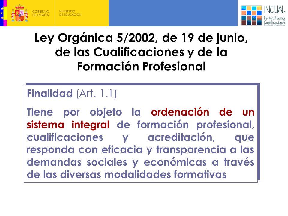 Ley Orgánica 5/2002, de 19 de junio, de las Cualificaciones y de la Formación Profesional