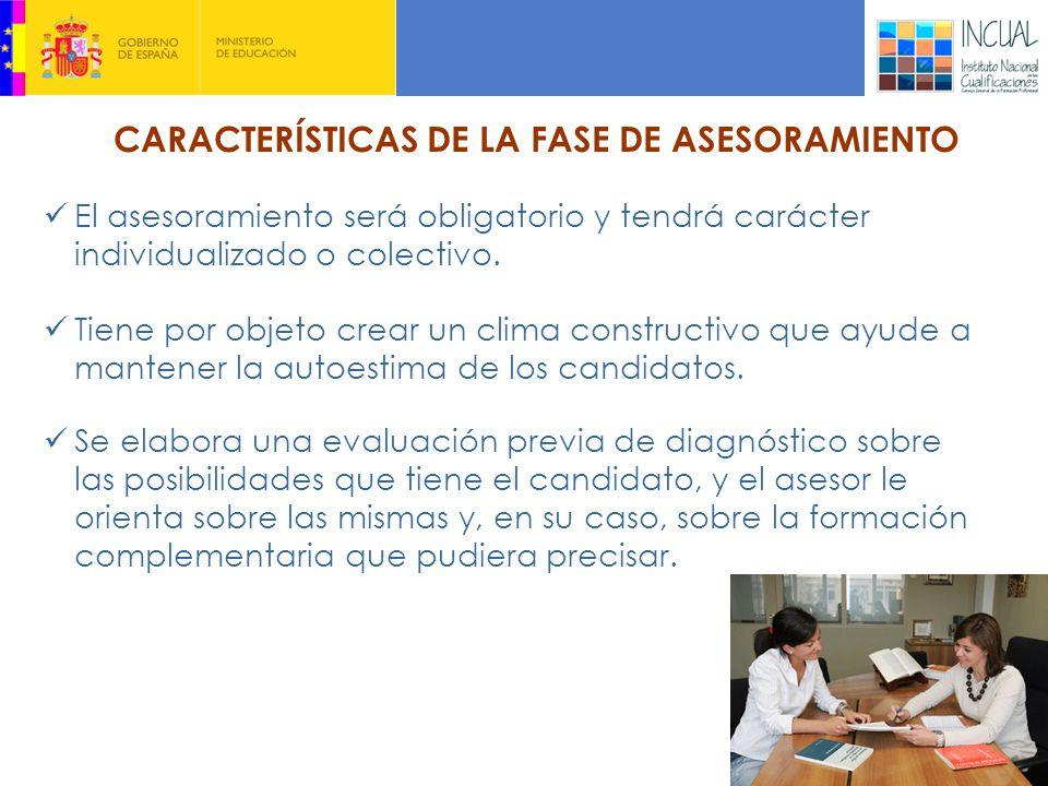 CARACTERÍSTICAS DE LA FASE DE ASESORAMIENTO