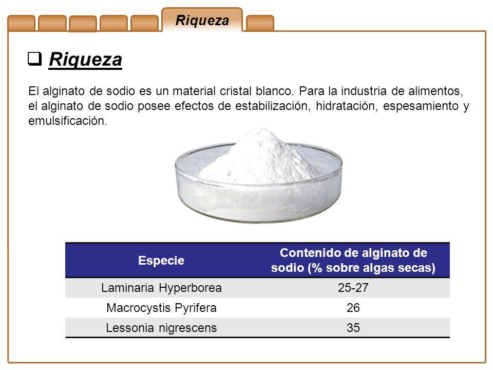 Contenido de alginato de sodio (% sobre algas secas)