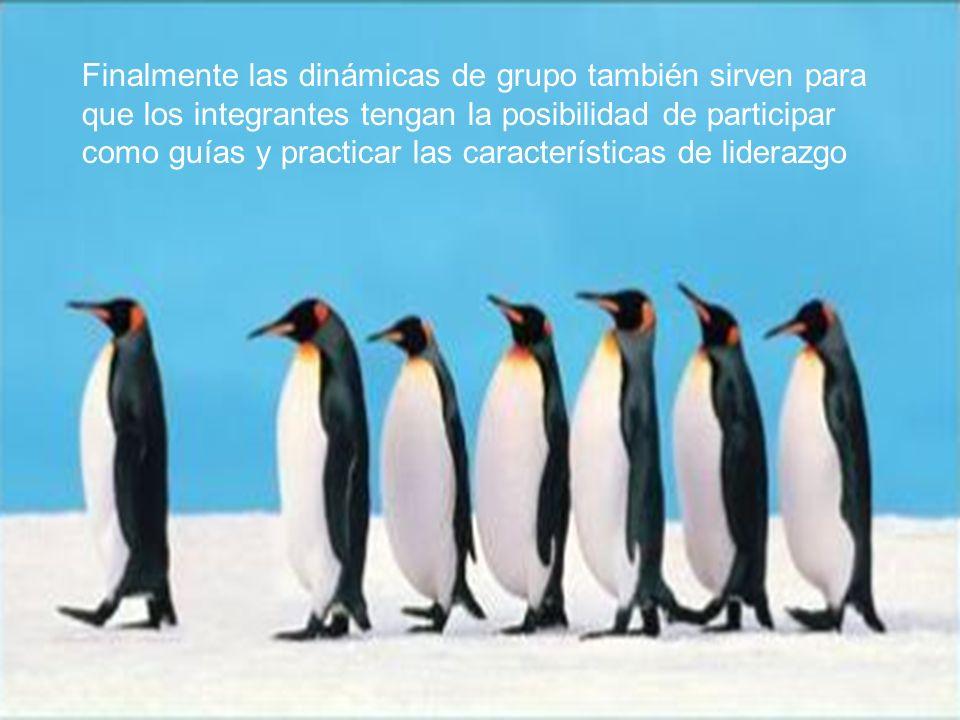 Finalmente las dinámicas de grupo también sirven para que los integrantes tengan la posibilidad de participar como guías y practicar las características de liderazgo