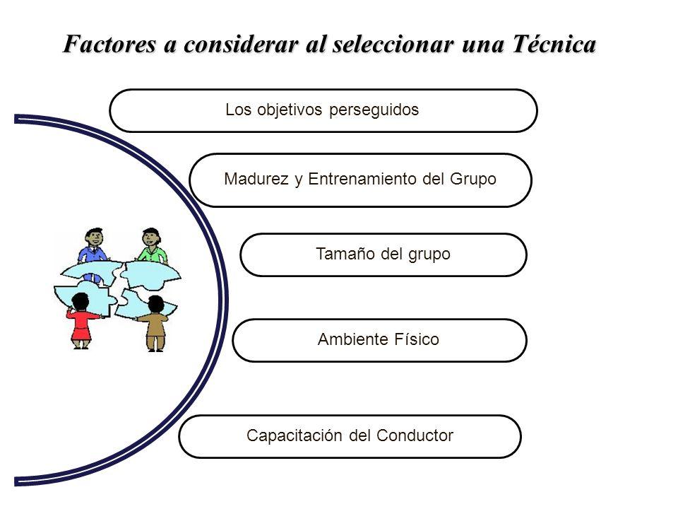Factores a considerar al seleccionar una Técnica