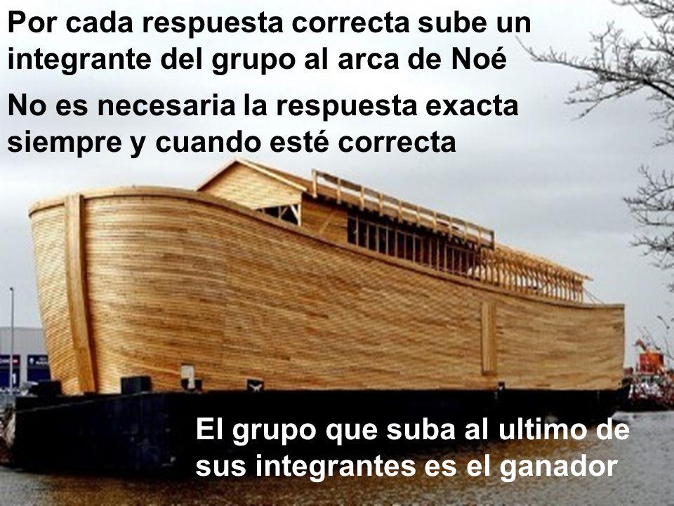 Por cada respuesta correcta sube un integrante del grupo al arca de Noé