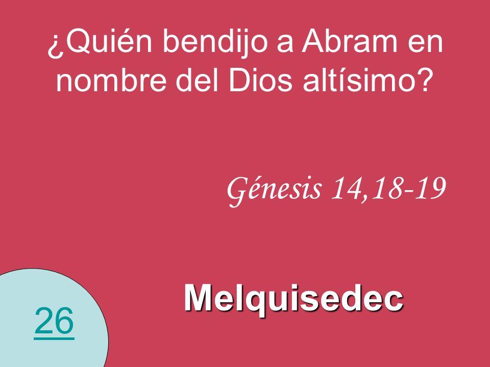 ¿Quién bendijo a Abram en nombre del Dios altísimo