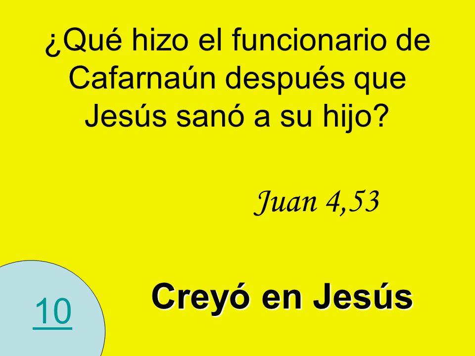 ¿Qué hizo el funcionario de Cafarnaún después que Jesús sanó a su hijo