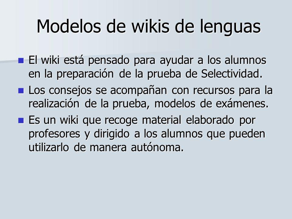 Modelos de wikis de lenguas