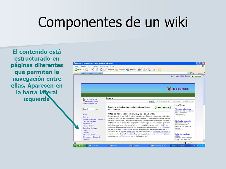 Componentes de un wiki