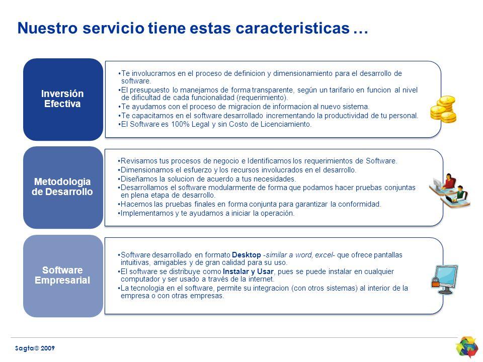 Nuestro servicio tiene estas caracteristicas …