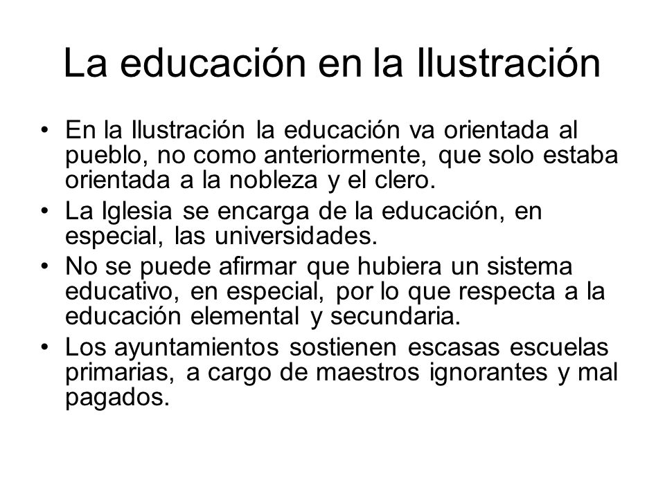 La educación en la Ilustración