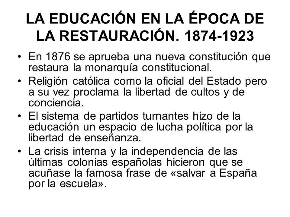 LA EDUCACIÓN EN LA ÉPOCA DE LA RESTAURACIÓN. 1874-1923