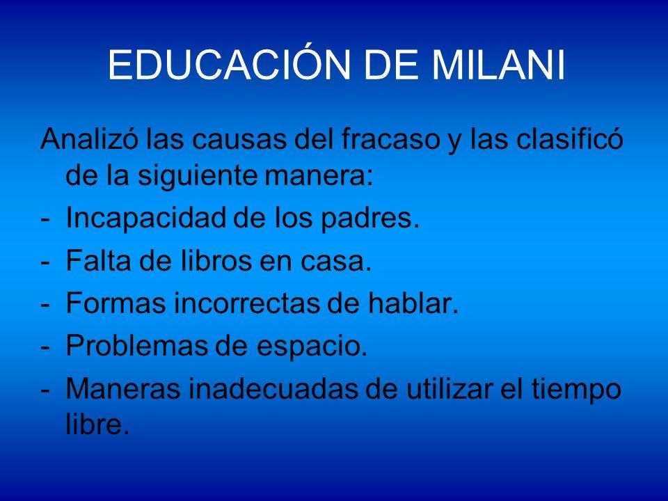 EDUCACIÓN DE MILANI Analizó las causas del fracaso y las clasificó de la siguiente manera: Incapacidad de los padres.