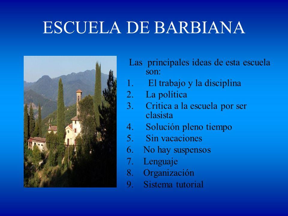 ESCUELA DE BARBIANA Las principales ideas de esta escuela son: