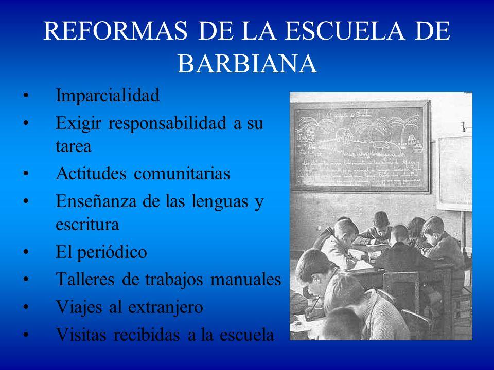REFORMAS DE LA ESCUELA DE BARBIANA