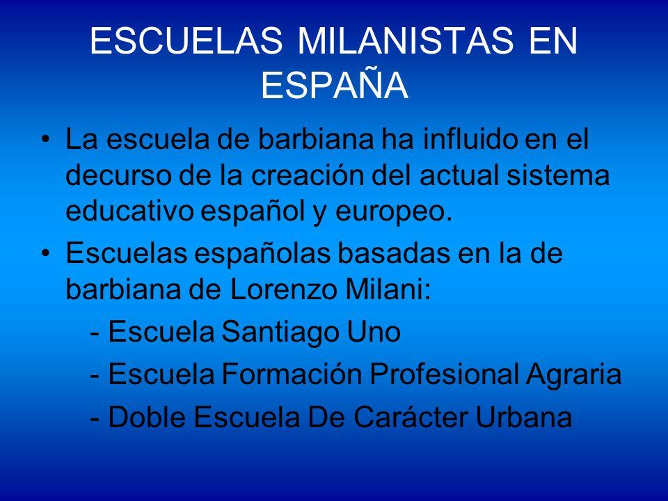 ESCUELAS MILANISTAS EN ESPAÑA