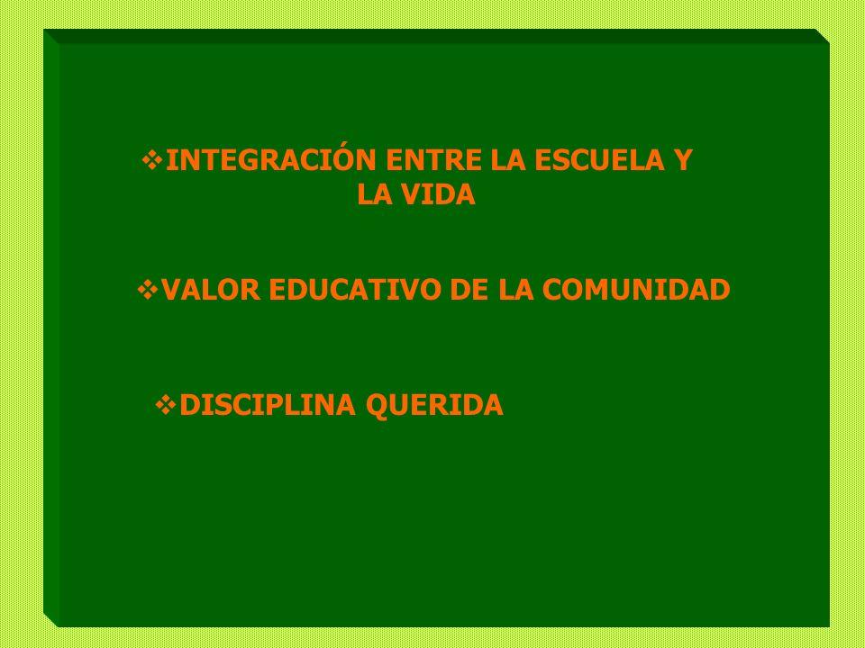 INTEGRACIÓN ENTRE LA ESCUELA Y LA VIDA VALOR EDUCATIVO DE LA COMUNIDAD