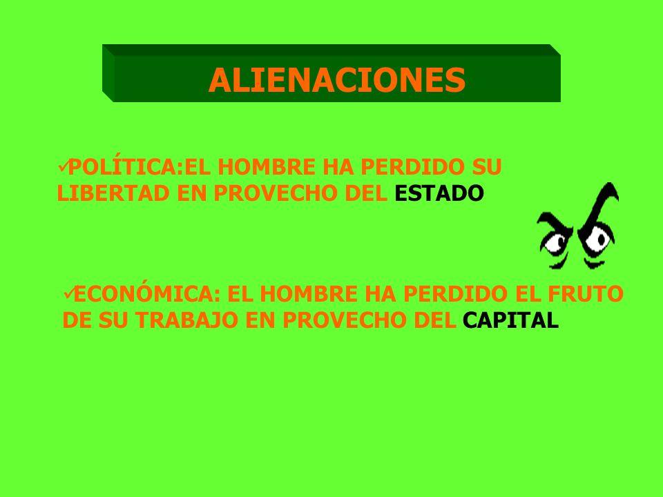 ALIENACIONES POLÍTICA:EL HOMBRE HA PERDIDO SU LIBERTAD EN PROVECHO DEL ESTADO.