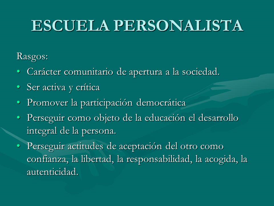 ESCUELA PERSONALISTA Rasgos: