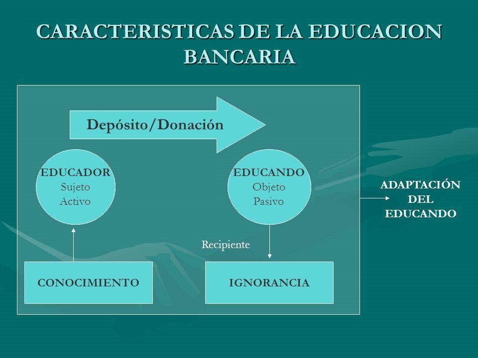 CARACTERISTICAS DE LA EDUCACION BANCARIA