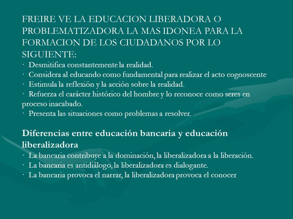 Diferencias entre educación bancaria y educación liberalizadora