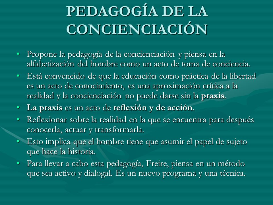 PEDAGOGÍA DE LA CONCIENCIACIÓN