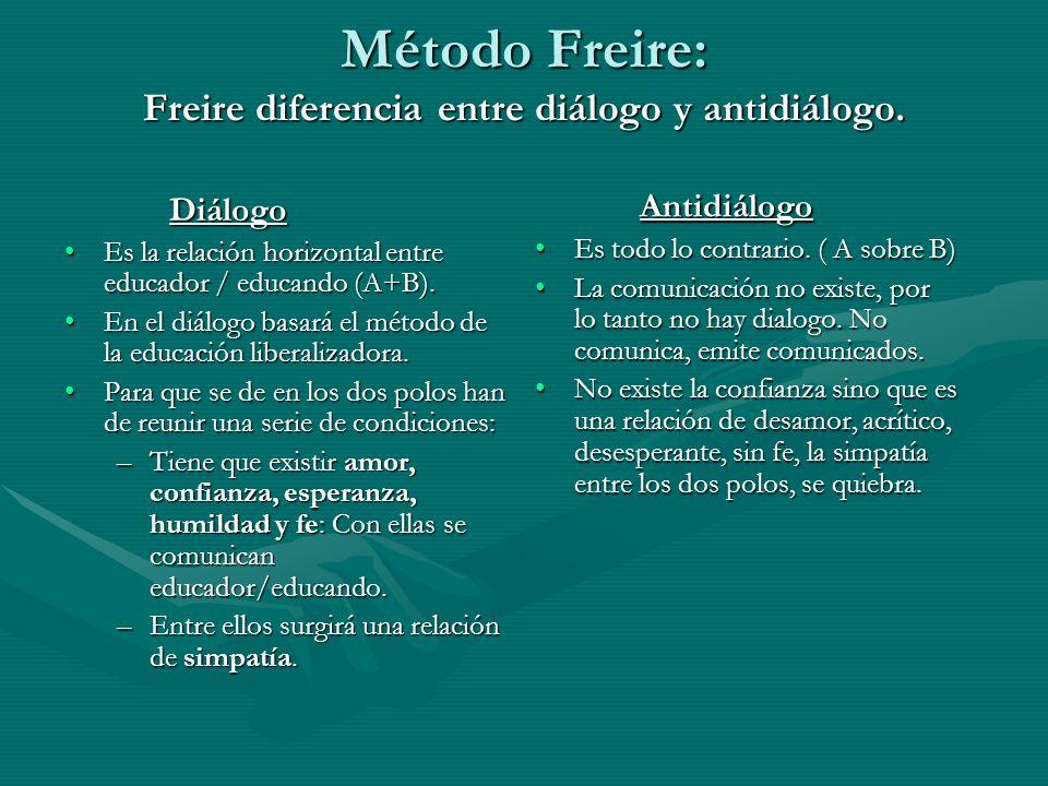 Método Freire: Freire diferencia entre diálogo y antidiálogo.