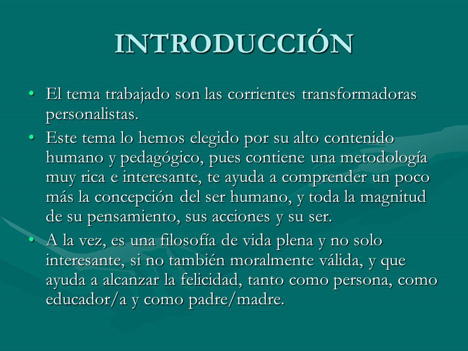 INTRODUCCIÓN El tema trabajado son las corrientes transformadoras personalistas.