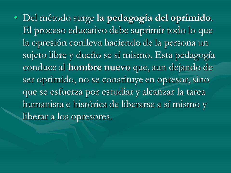 Del método surge la pedagogía del oprimido
