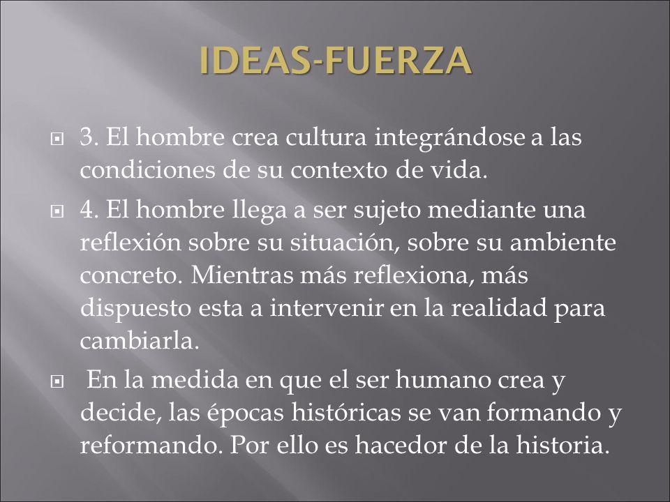 IDEAS-FUERZA3. El hombre crea cultura integrándose a las condiciones de su contexto de vida.
