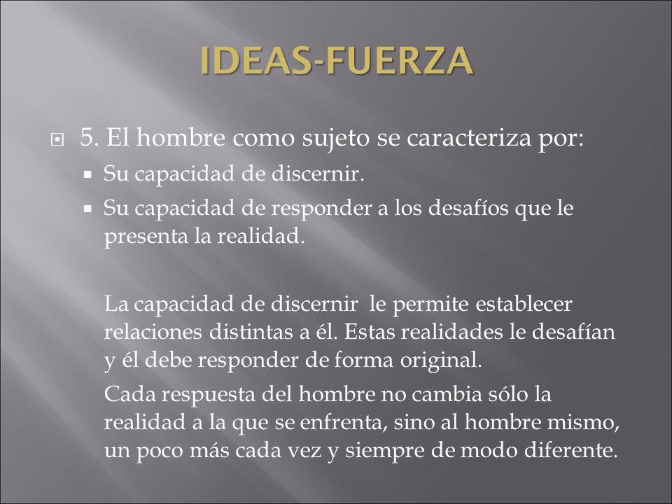 IDEAS-FUERZA 5. El hombre como sujeto se caracteriza por: