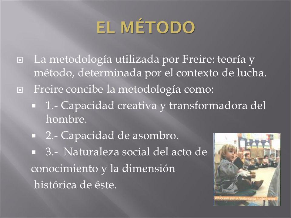 El MétodoLa metodología utilizada por Freire: teoría y método, determinada por el contexto de lucha.