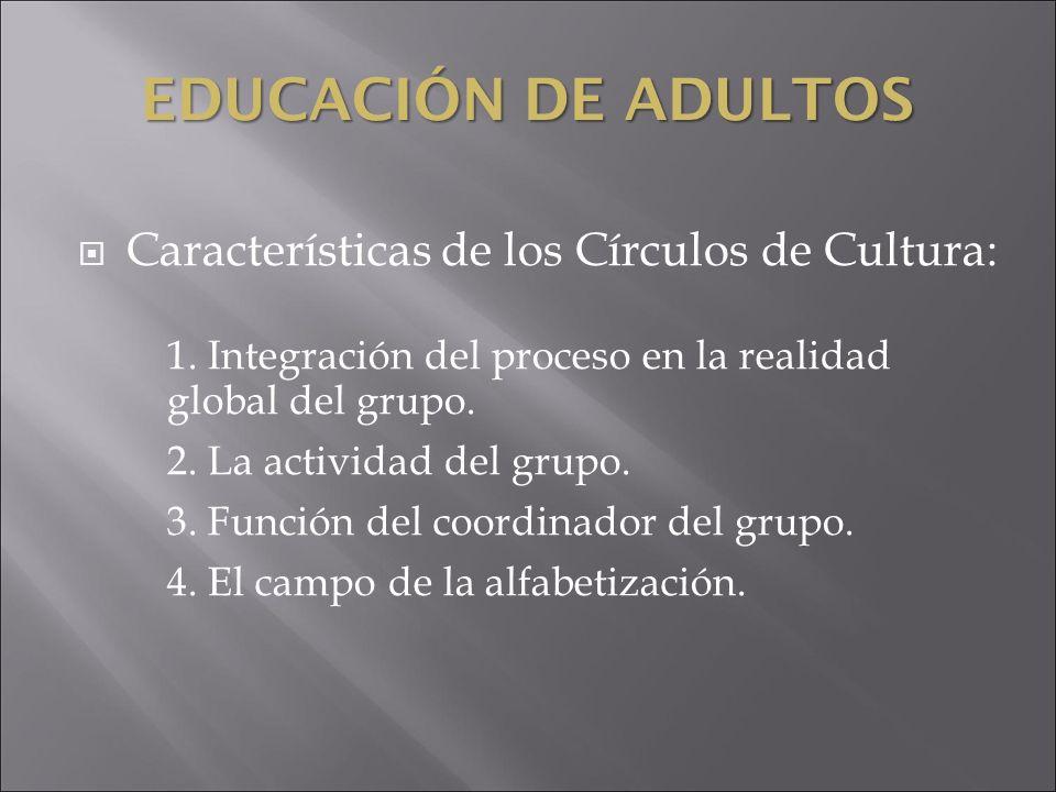 EDUCACIÓN DE ADULTOS Características de los Círculos de Cultura:
