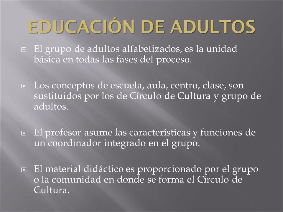 EDUCACIÓN DE ADULTOS El grupo de adultos alfabetizados, es la unidad básica en todas las fases del proceso.