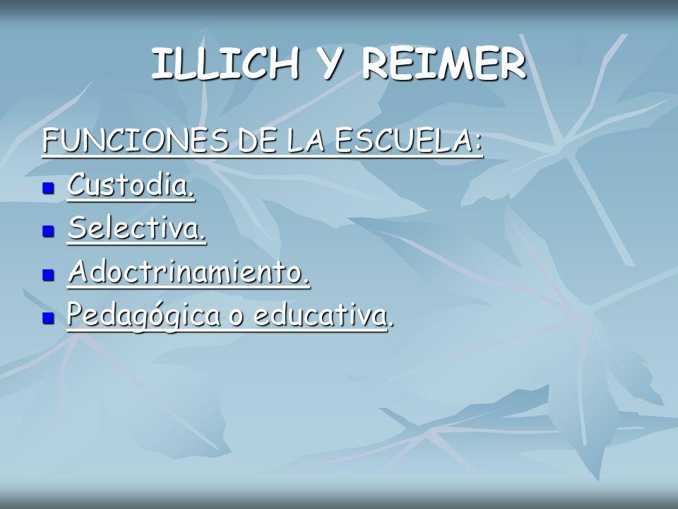 ILLICH Y REIMER FUNCIONES DE LA ESCUELA: Custodia. Selectiva.