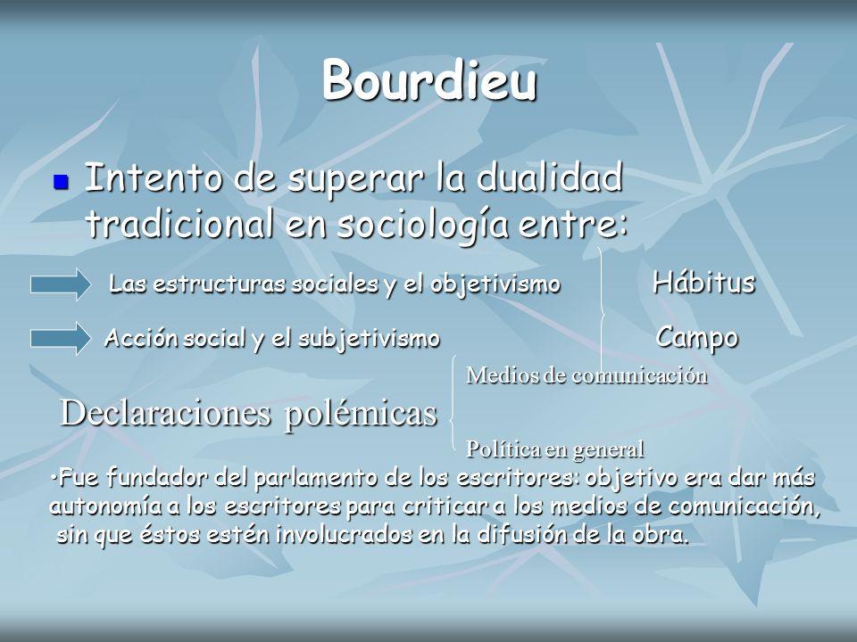 Bourdieu Intento de superar la dualidad tradicional en sociología entre: Las estructuras sociales y el objetivismo Hábitus.