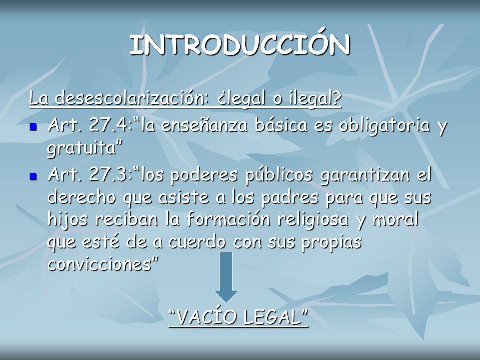 INTRODUCCIÓN La desescolarización: ¿legal o ilegal
