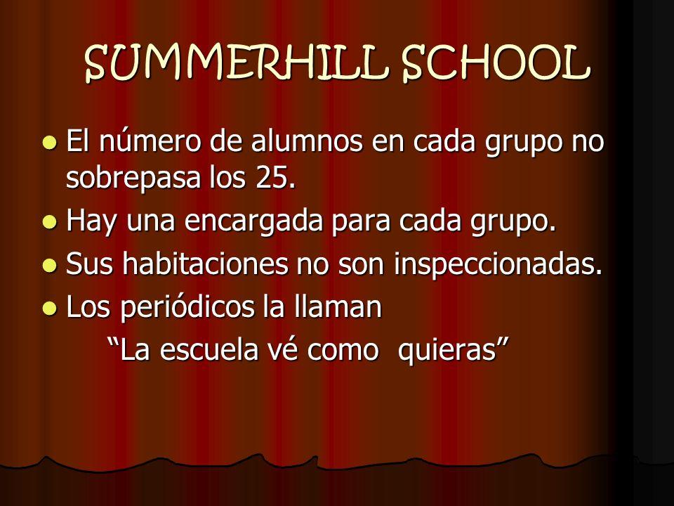 SUMMERHILL SCHOOL El número de alumnos en cada grupo no sobrepasa los 25. Hay una encargada para cada grupo.