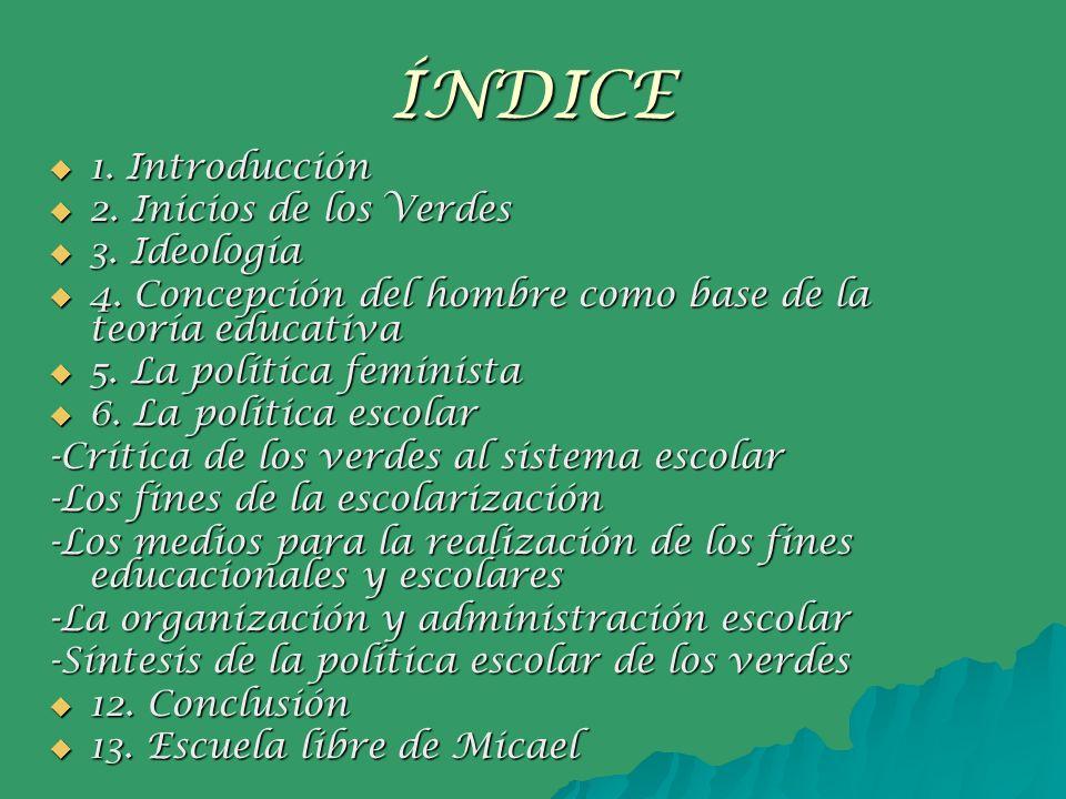 ÍNDICE 1. Introducción 2. Inicios de los Verdes 3. Ideología