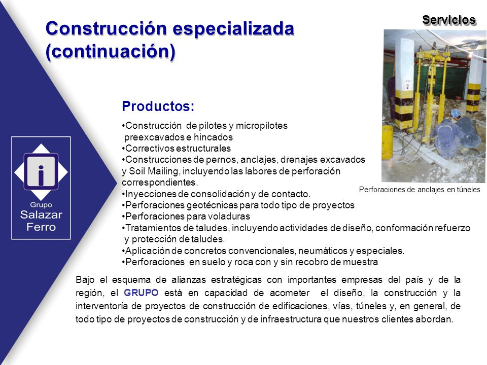 Construcción especializada (continuación)