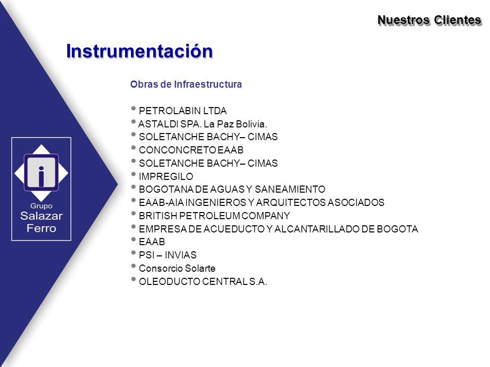 Instrumentación Nuestros Clientes Obras de Infraestructura