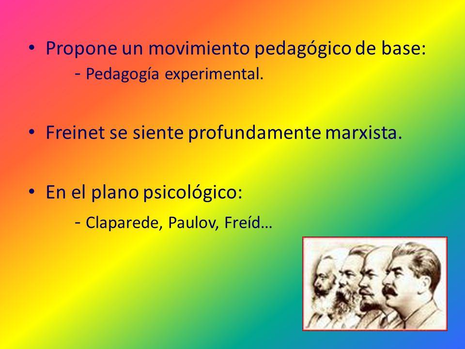 Propone un movimiento pedagógico de base: - Pedagogía experimental.