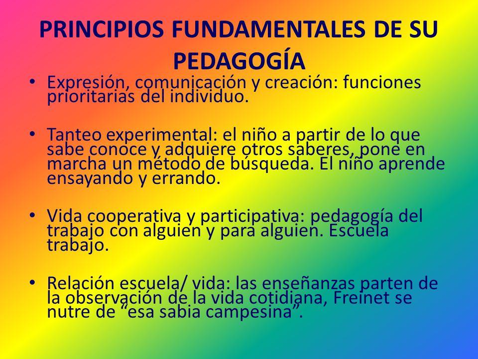 PRINCIPIOS FUNDAMENTALES DE SU PEDAGOGÍA
