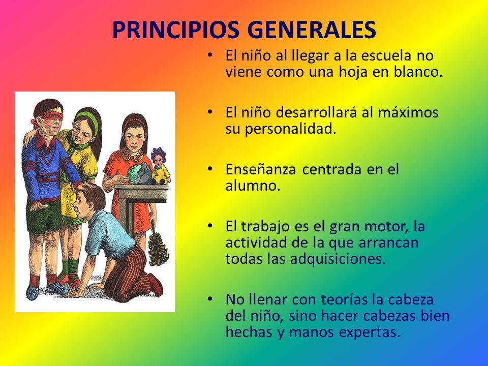 PRINCIPIOS GENERALES El niño al llegar a la escuela no viene como una hoja en blanco. El niño desarrollará al máximos su personalidad.