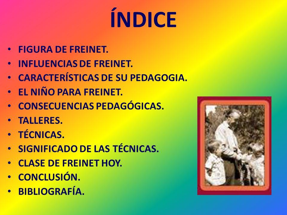ÍNDICE FIGURA DE FREINET. INFLUENCIAS DE FREINET.