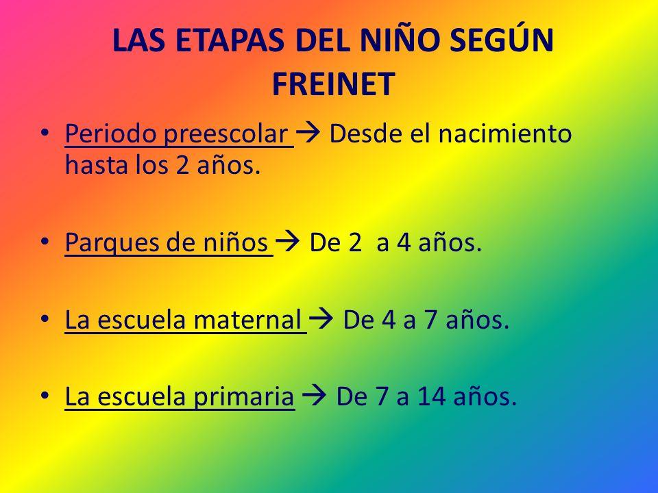 LAS ETAPAS DEL NIÑO SEGÚN FREINET